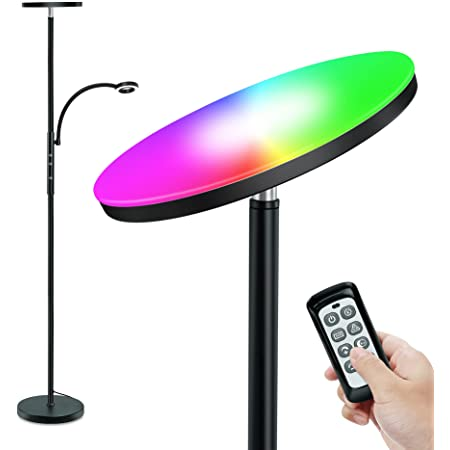 Lampadaire, STASUN RGB Lampadaire avec Liseuse,Dimmable, Lampe à Pied avec Télécommande et Commande Tactile,10 choix de couleurs, Éclairage Principal 20W avec RGB et 5W Lampe de Lecture, schwarz