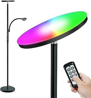 Lampadaire, STASUN RGB Lampadaire avec Liseuse,Dimmable, Lampe à Pied avec Télécommande et Commande Tactile,10 choix de co...