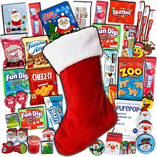 Christmas Stocking Stuffed (1ct) - Candy, Snacks, Toys, Chocolates, already pre-filled Holiday, variety, assortment, gift - Present for Kids, Children, Grandchildren, Boys, Girls, College Students