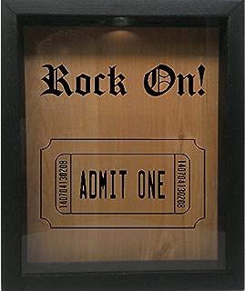 Wooden Shadow Box Wine Cork/Bottle Cap/Tickets 9x11 - Rock On with Ticket (Ebony w/Black)