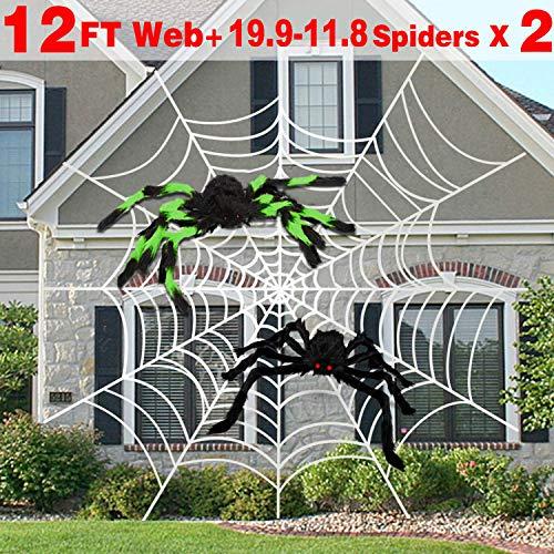 AMENON 5,1 m große Spinnennetze mit großer schwarzer Spinnennetz, 73,7 cm, Super Stretch Spinnennetz mit 20 Spinnennetzen, 3,8 cm Set für den Garten Giant 12 Ft Round Spider Web