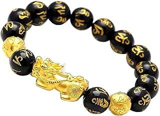 Cavestoff - Braccialetto con perline Feng Shui cinese Pi Xiu, braccialetto in ossidiana con amuleto intagliato a mano, per...