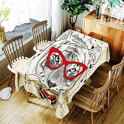 Mantel De Cocina Rectangular con Estampado De Elefante Mantel Cuadrado Mantel Antiincrustante para Mesa De Centro Adecuado para Picnic Al Aire Libre Jardín Camping Fiesta De Halloween 140x140cm