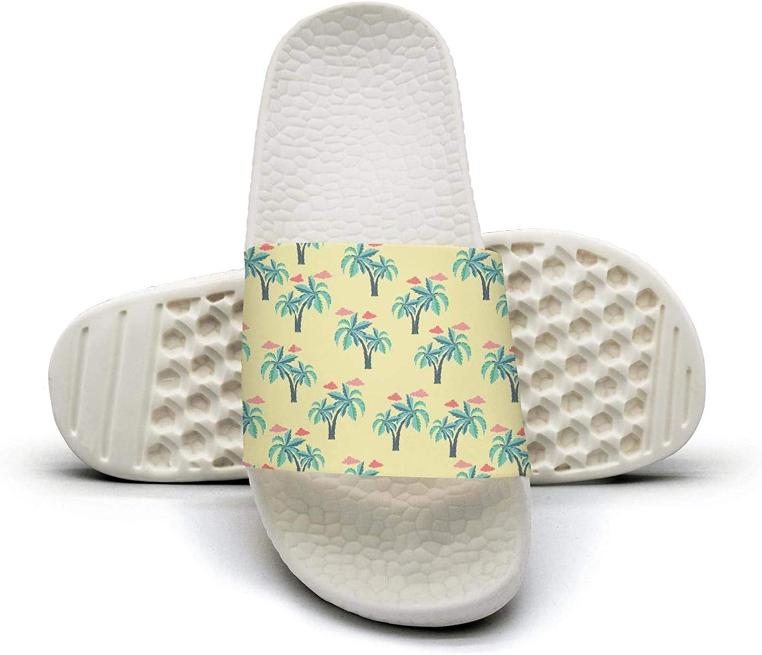 Women Palm Trees and Clouds Slip on Beach Sandals and Anti-Slip Shower Slipper Comfort Sandals