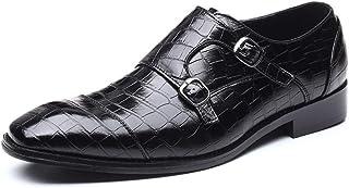CAIFENG SONGCasual holgazán Hombres resbalón de Doble Piel Hebilla Patente de Oxfords de la Tela Escocesa de Vestir Zapato...