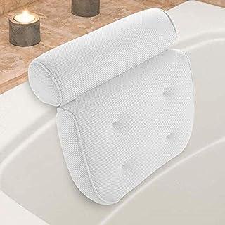 YXHMdd 3D Bath Pillow,Suction Cups for A Bubble Bath, Head Neck Back Shoulder Support,Ergonomic Tub Jacuzzi Soft Headrest