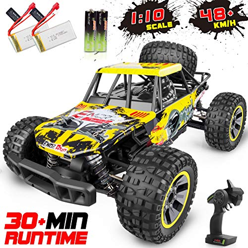 WHIMSWIT Remote Control Car, 1:10 Large Scale Electric RC Car Off-Road Monster Truck with High Speed 48km/h Wide Range 100M 2.4GHz 4WD, Anti-Collision R/C Cross-Country Racing Vehicle