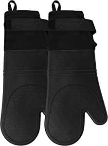 RoomyRoc Silicone Oven Mitts with Adjustable Cuff, Oven Mitt with Non-Slip Grip and Thicker Liner, Heat Resistant Pot Holders, Extra Long Professional Flexible Oven Gloves, Black, 1 Pair, 14.7 Inch