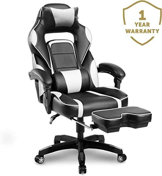 Merax Racing Gaming Chair With Footrest Ergonomic Office Reclining Chair Computer Gamers PC Racer High Back Large Home Desk Chairs Executive Adjustable Armrests And Comfortable Seat Pearl
