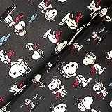 Fabrilogy Lizenz Bio-Jersey Peanuts Snoopy Pilot anthrazit