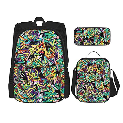 Mochila de fondo geométrico de los años 80, bolsa de escuela para niños, bolsa de almuerzo con estuche de lápices, juego 3 en 1