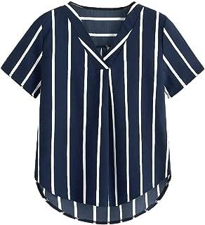Milumia Women's Striped Short Sleeve V Neck Work Chiffon Blouse Top