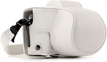 MegaGear Olympus OM-D E-M10 Mark III (14-42mm) Ever Ready Leather Camera Case and Strap, with Battery Access - White - MG1349