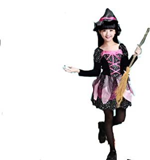 Children Girls Dress Halloween Cosplay Costumes Little Star Dress Witch Hats Kids Outfits (12T/13T)