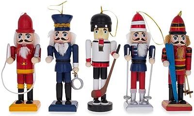BestPysanky 5 Nutcrackers: Firefighter, Policeman, Hockey, Skier, Snowboarder 5 Inches