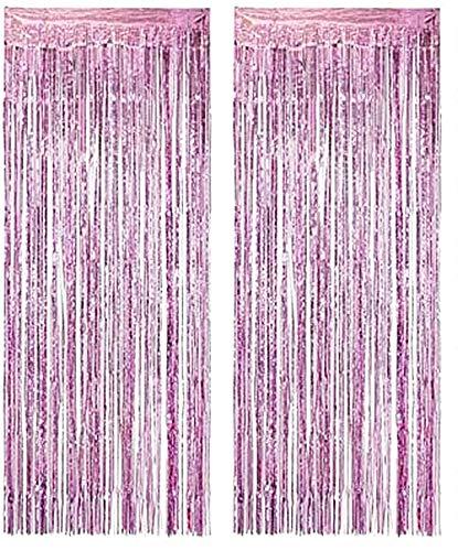 Lovelegis Carpas para Fiestas - cumpleaños - metálicas - Flecos - herrajes para Ventanas - Puertas - 1.90 x 1 m de Largo - Color Lila - Paquete de 2 Piezas - Idea de Regalo de cumpleaños
