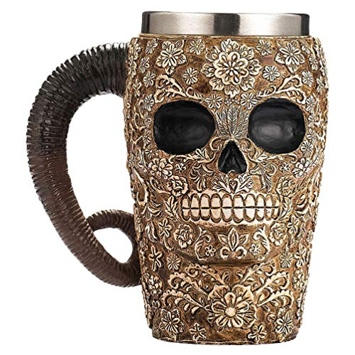Cabilock Taza de Bebida Vikinga Realista Calavera Taza Pirata Cerveza Stein Jarra...