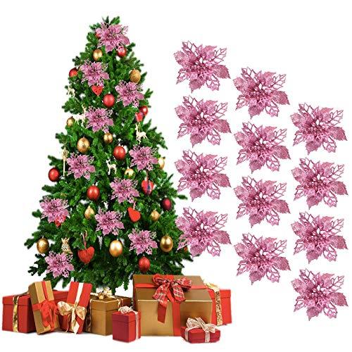 SHGDDYSB 12Pcs Decoration Noel Sapin,Ornement Sapin Noël Lot déco Noël Glitter Artificielles Fleurs de Noel pour la fête de Fleurs de Poinsettia Glitter Mariage Décorations (Rose)