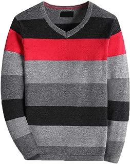 Boy's Long-Sleeve Sweater Pullover V-Neck 100% Cotton Multicolor Stripe