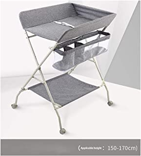 With Wheels,Foldable Cross Leg Oxford Cloth Steel Pipe Diaper Table Baby Bed Diaper Table Diaper Table Baby Care Table Portable Foldable Newborn Baby Bed Bath Massage Touch (Color : Gray)