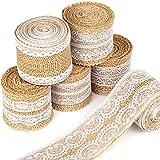 12 Yards Burlap Ribbon, LEOBRO 6 Rolls Burlap Lace Ribbons in 6 Assorted Styles, Handmade Burlap Ribbons for Crafts, Wedding Decoration, Party Decor, Mason Jars, 2 Yards/Roll