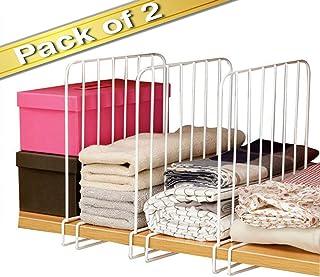 House of Quirk Wooden Racks Closet Shelf Organiser, Closet Separator Cabinet Shelf, Dormitory Storage Rack,Partition Storage Organiser (White) Pack of 2