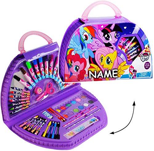 alles-meine.de GmbH 51 TLG. Set __ XL Stifte-Koffer -  My Little Pony  - incl. Name - Malkoffer mit Stiften + Filzstifte + Buntstifte + Wasserfarben + Wachsmal Farben + Pinsel ..