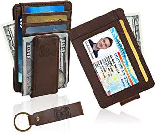 Money Clip Wallet Leather Slim Front Pocket Magnetic RFID Money Clip Wallet