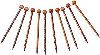 MagiDeal 10 Pieces Elegant Vintage Handmade Printed Hair Sticks Shawl Picks Pins Forks Women Wooden Hair Stick Hairpin Head Pins Hair Fork For Hair Accessories