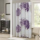 Comfort Spaces Enya Bathroom Shower Floral Printed Cute Chic Microfiber Fabric Bath Curtains, 72'x72', Purple/Grey