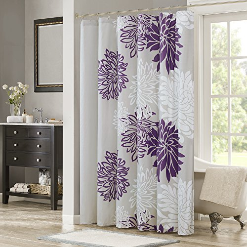Comfort Spaces Enya Bathroom Shower Floral Printed Cute Chic Microfiber Fabric Bath Curtains, 72'x72', Purple/Grey