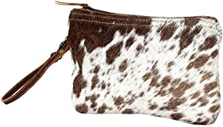 Wristlet Handbag - Cow Hide - White & Brown Small W/Zipper top - 6