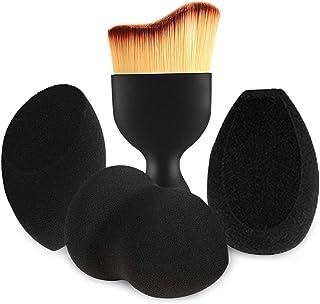 BEAKEY 3+1 Pcs Makeup Sponges with Contour Brush,Foundation Blending Sponge, Suitable for Liquid Cream and Powder,Professional Beauty Sponge Blender & Face Brush Set