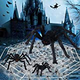 Halloween Spider Decorations,11.5Ft Spider Web & 800sqft Cobwebs & 3 Large Fake Spider & 40pcs Small Spiders,Scary Spider Set for Indoor Outdoor Halloween Decorations Haunted House Décor(35'/30'/24')
