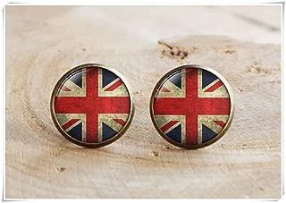 Rustic England Flag Earrings, London UK Flag Stud Earrings, Vintage Style Flag, London Vintage Flag Stud Earrings