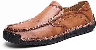 [ファイン?ショップ] 大きいサイズ 革靴 メンズ おしゃれ カジュアルシューズ フラット ラウンドトゥ ローカット 耐磨耗 通気 柔らかい 滑り止め 快適 歩きやすい 履きやすい 紳士靴 スリッポン ブラウン 24.0~29.0cm