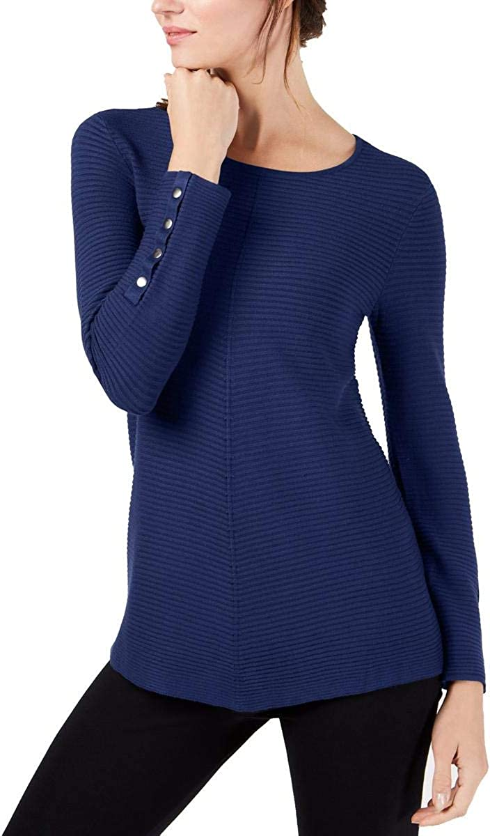 Alfani Womens Ribbed Jewel 現金特価 セール 特集 Neck Sweater Pullover