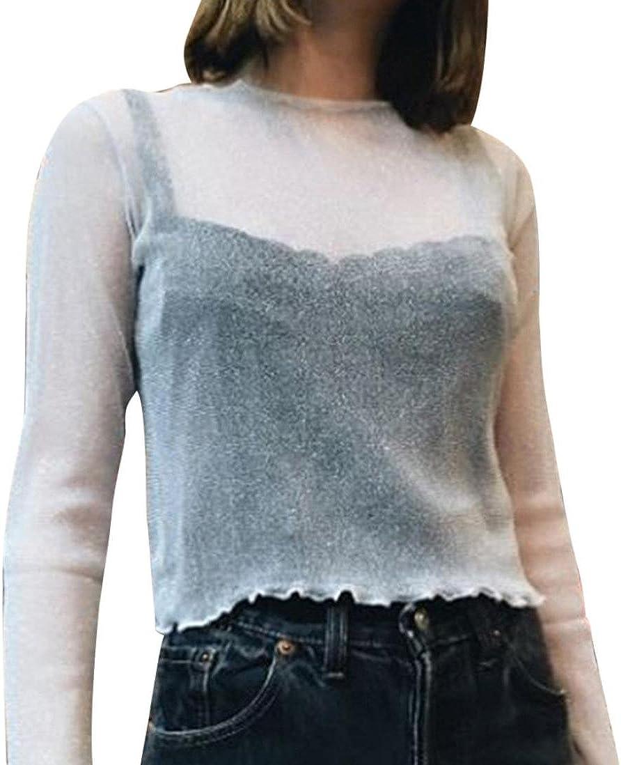 winwintom Mujer Sólido O-Cuello Delgado De Coser Camisa ...