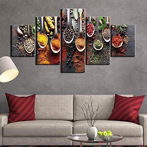 rkmaster-5 stuks set keuken levensmiddelen canvas schilderkunst voedsel afbeelding muurschildering 5 bord kruiden woonkamer muurkunst muurschildering