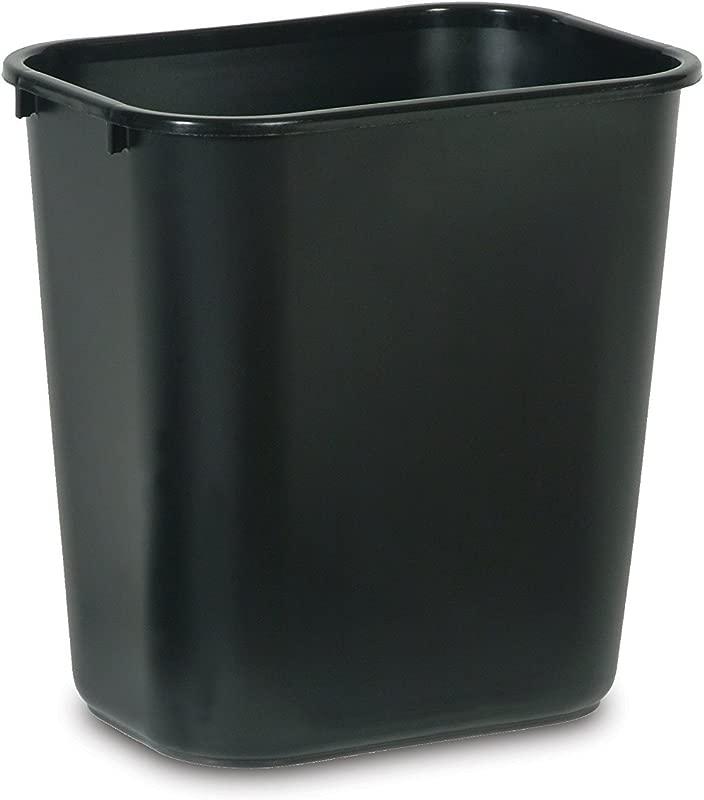 Rubbermaid Commercial Products FG295600BLA Plastic Resin Deskside Wastebasket 7 Gallon 28 Quart Black Pack Of 12