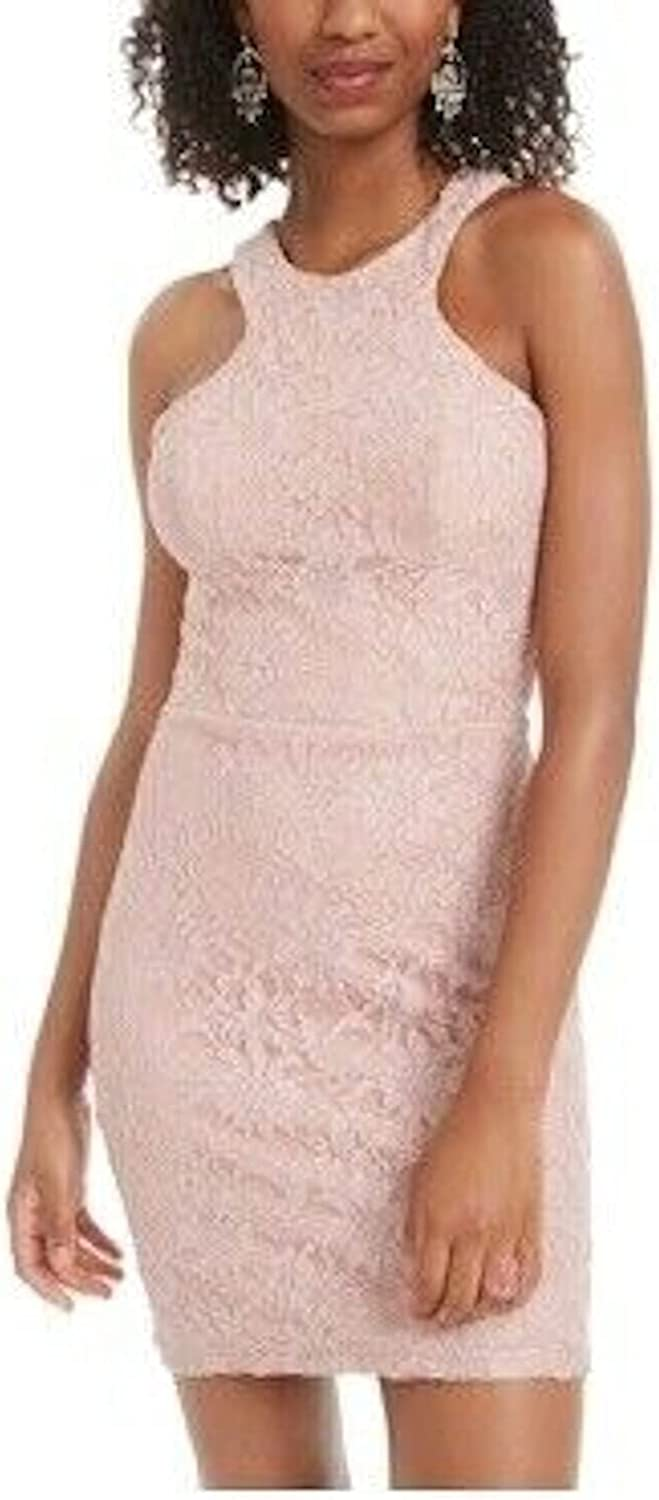 City Studio Womens Pink Embroidered Cut Out Sleeveless Halter Short Body Con Cocktail Dress Size 0