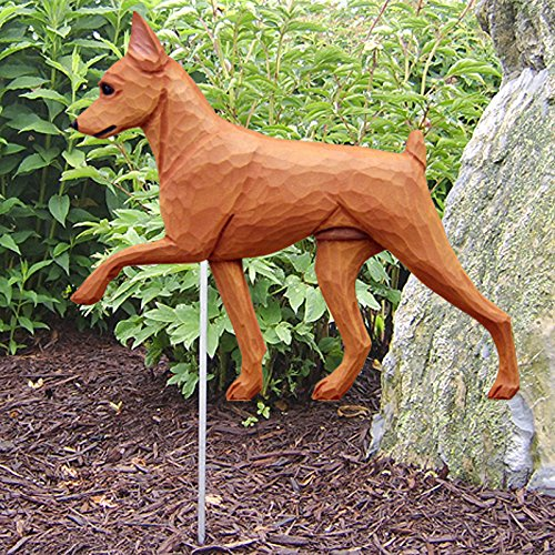 Miniature Pinscher Outdoor Garden Dog Sign Hand Painted Figure Red