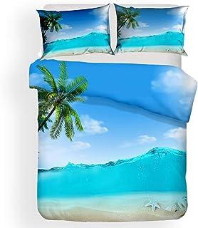 TEXTILE-S 3D Impresión Suave edredón Cover Set Blue Ocean Colcha de Cama Estrellas de mar Funda nórdica Niños Niñas Beach Conjunto de 3 Piezas,A2,Full