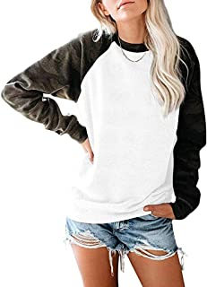 Women's Sweatshirt Crewneck Contrast Color Long Sleeved Pullover Top Loose Lining Shirt T-Shirt