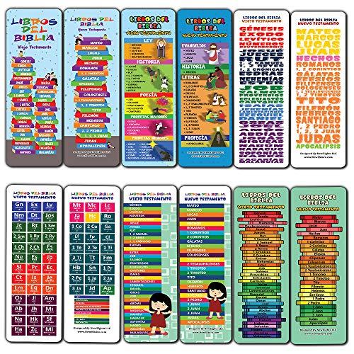 Spagnolo Libri della Bibbia Segnalibri per i bambini (60-Pack) - Chiesa di memoria Verse Domenica Scuola Rewards - Christian Stocking Stuffers festa di compleanno favori assortiti Pack di massa