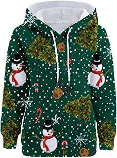 Womens Outwear Fashion Christmas Snowman Print Tunic Tops Pocket Hooded Long Sleeve Loose Sweatshirt