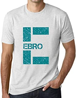 Ultrabasic Men's Graphic T-Shirt Letter E Countries and Cities EBRO Vintage White