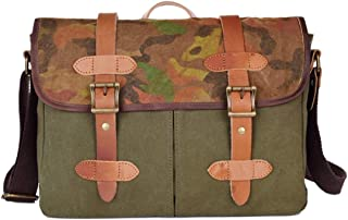 Mens Bag Simple Vintage Briefcase Zipper Waterproof Bag Canvas Messenger Shoulder Bag Color: Khaki High capacity