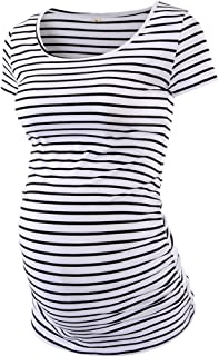 Love2Mi Womens Mama Maternity Tunic Tops Side Ruched T-Shirt Short Sleeve Fitted Pregnancy Clothes