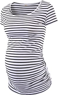 Womens Mama Maternity Tunic Tops Side Ruched T-Shirt Short Sleeve Fitted Pregnancy Clothes